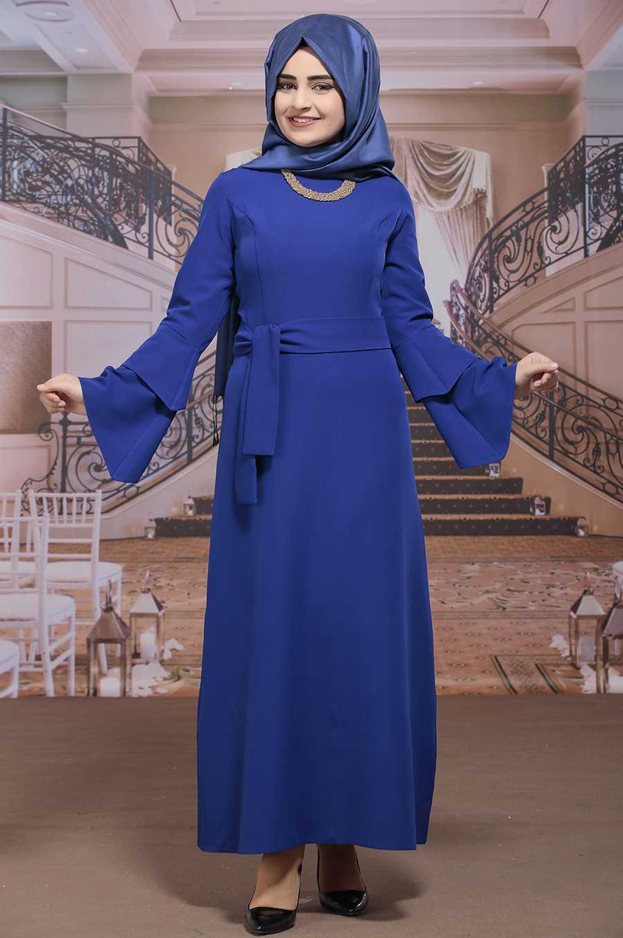 Sümay Moda Tesettür Mavi Elbise Modelleri