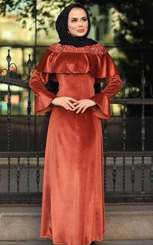 Sahranur Tesettür Kadife Elbise Modelleri