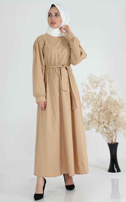 Sahranur Tesettür Keten Elbise Modelleri