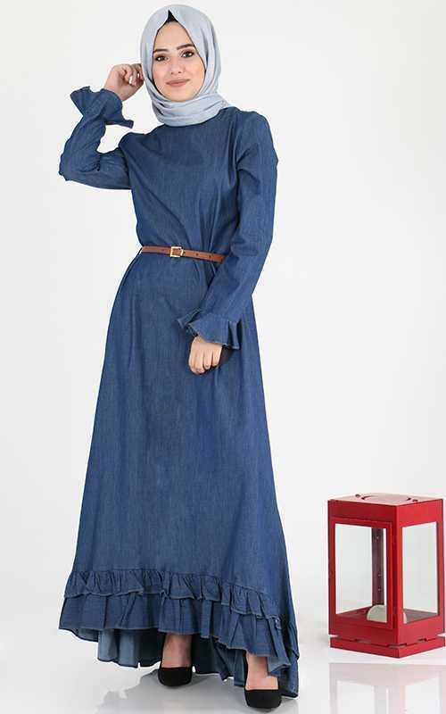 Sahranur Tesettür Mavi Kot Elbise Modelleri