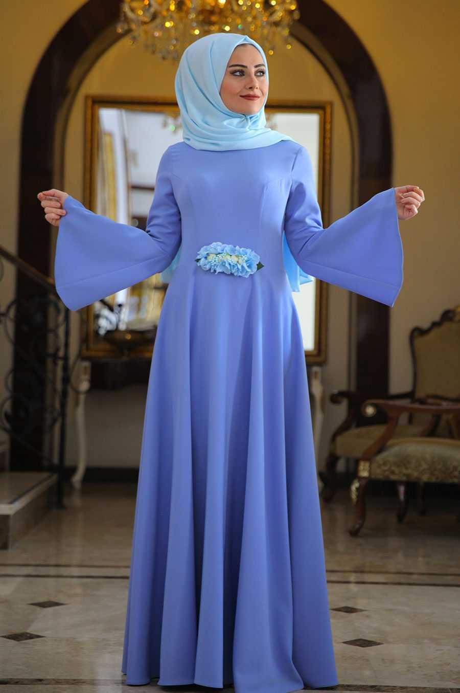Seda Tiryaki Tesettür Mavi Alara Elbise Modelleri