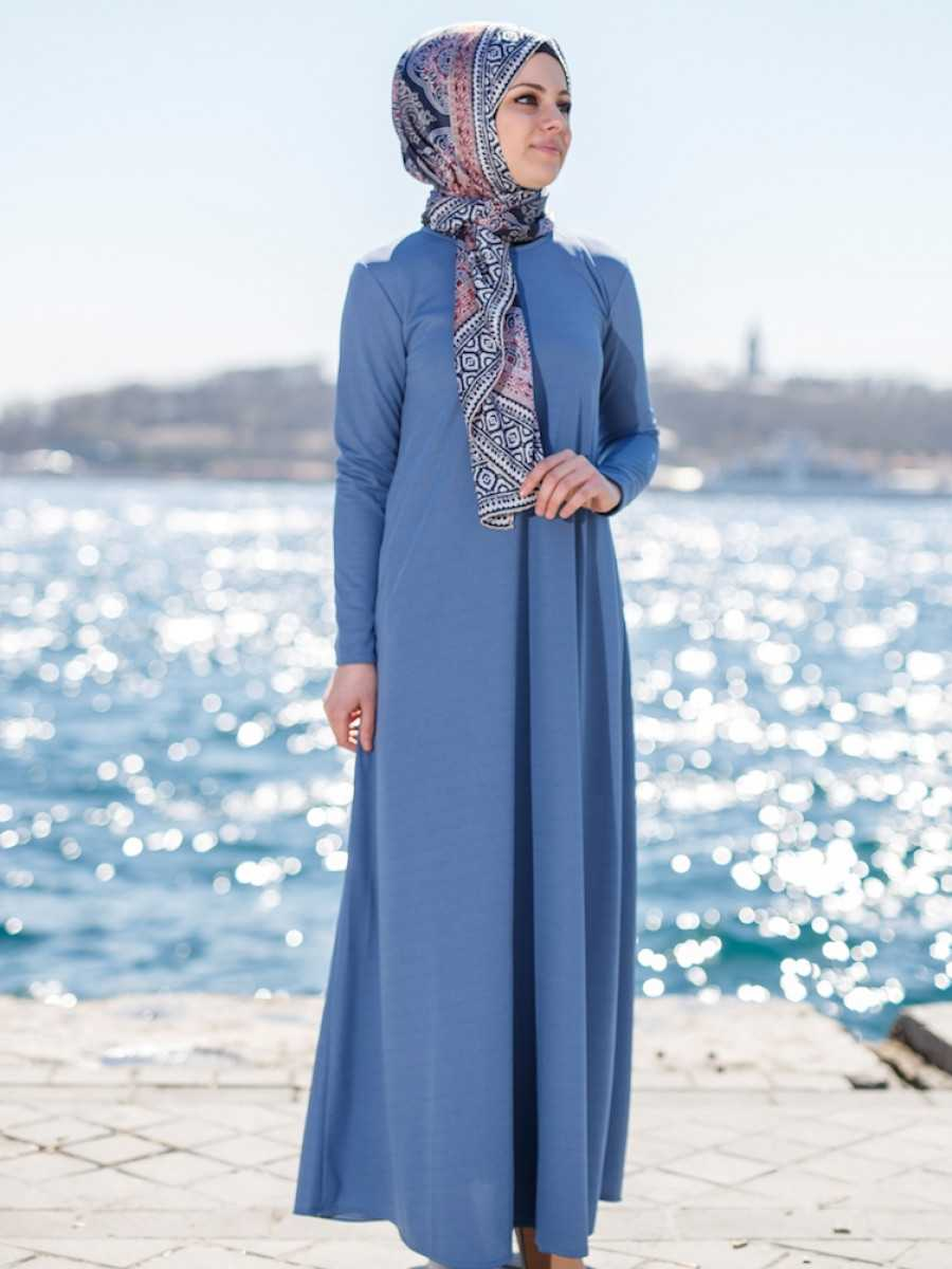 Sefamerve Tesettür Çan Mavi Nakışlı Elbise Modelleri