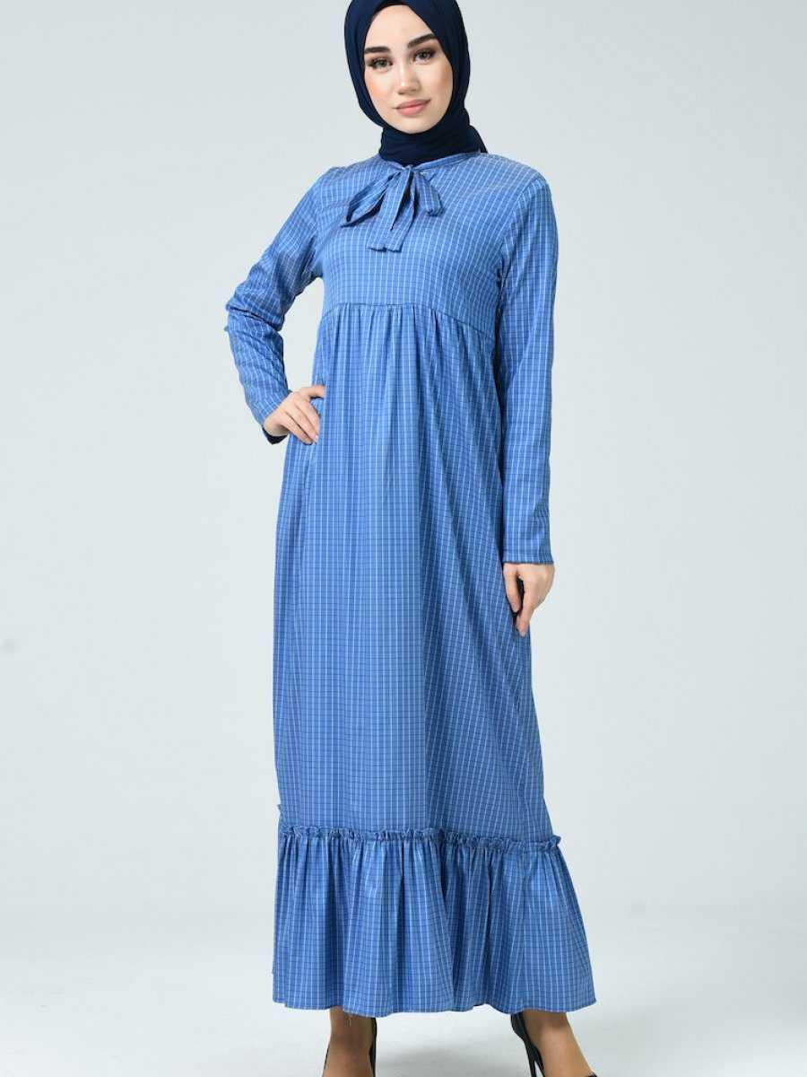 Sefamerve Tesettür Büzgülü Mavi Elbise Modelleri