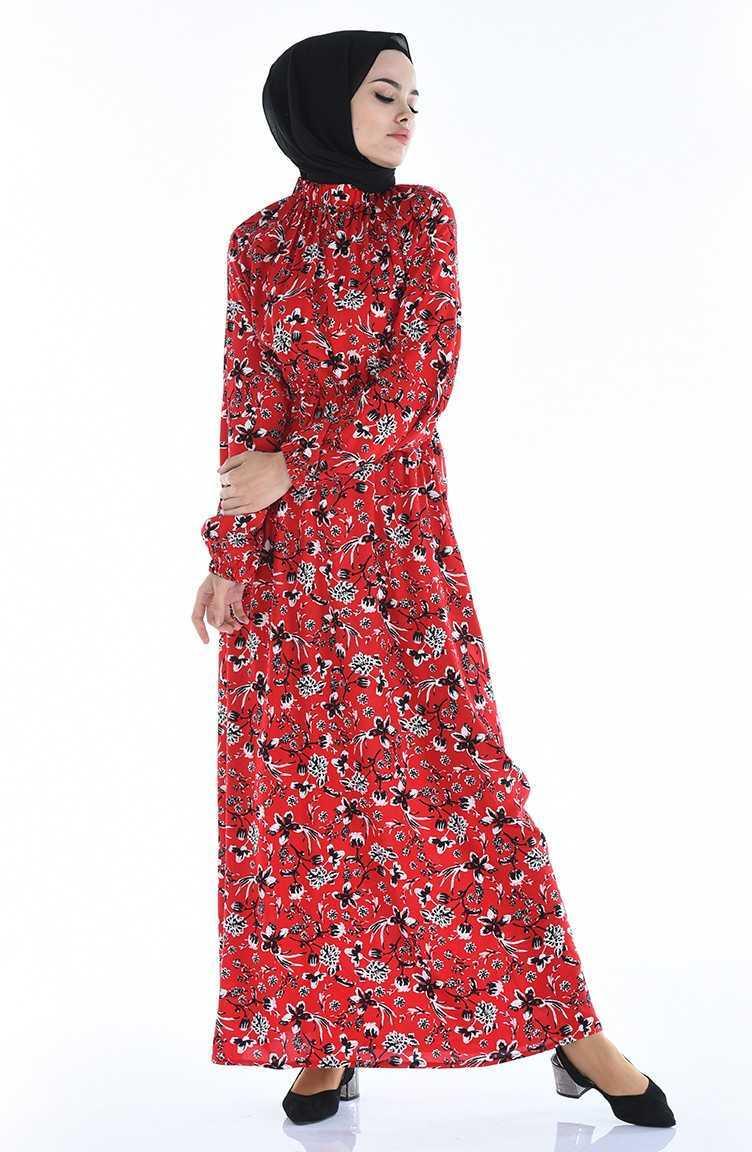 Sefamerve Tesettür Desenli Kırmızı Elbise Modelleri