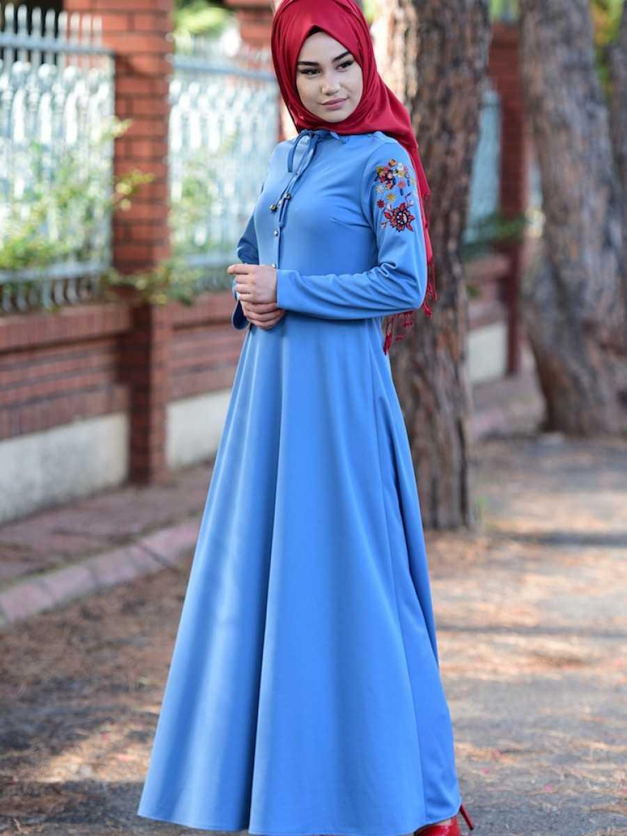 Sefamerve Tesettür Mavi Nakışlı Elbise Modelleri
