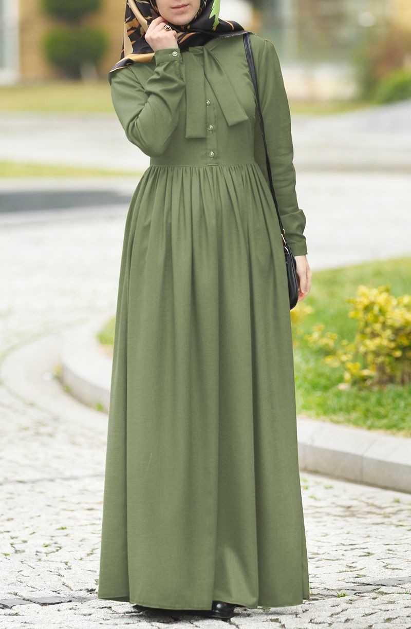 Suhneva Tesettür Fularlı Keten Elbise Modelleri