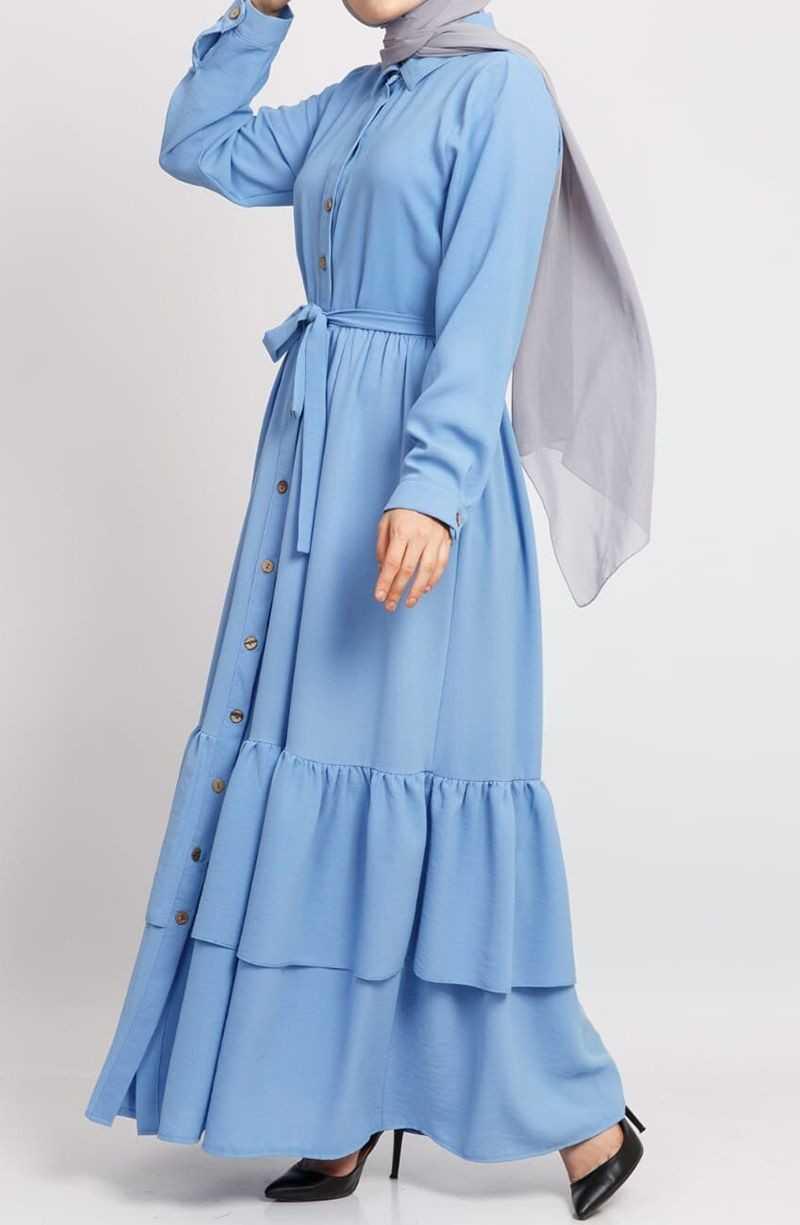 Suhneva Tesettür Mavi Elbise Modelleri