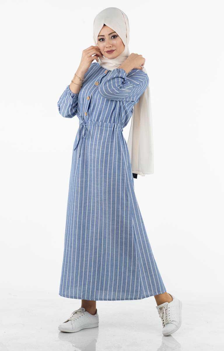 Tesettür Pazarı Mavi Günlük Elbise Modelleri
