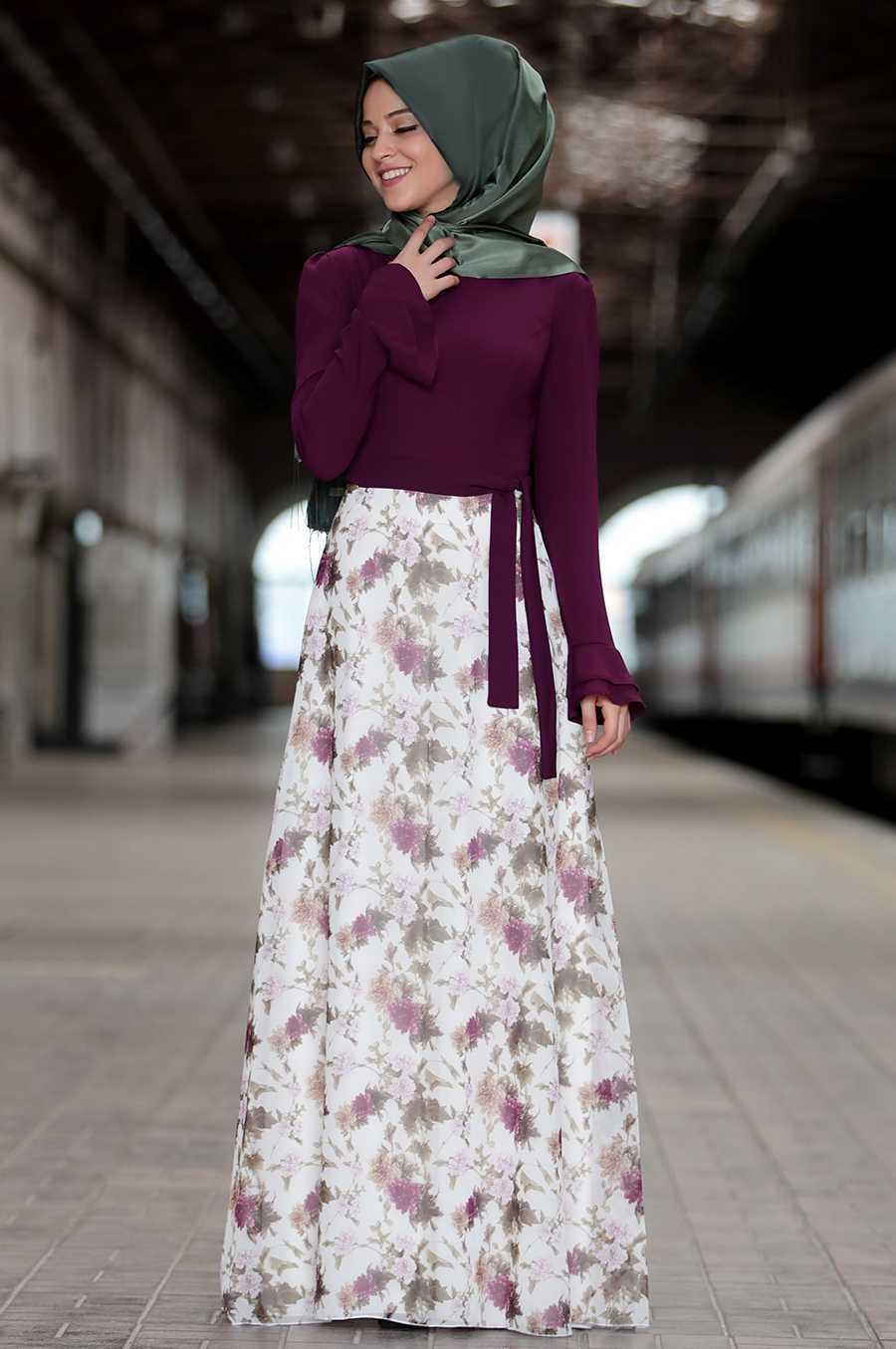 Al Marah Çiçek Desenli Tesettür Elbise Modelleri