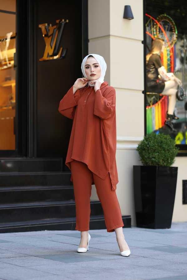 Eliza Moda Tesettür Keten Kumaş Gömlek Modelleri