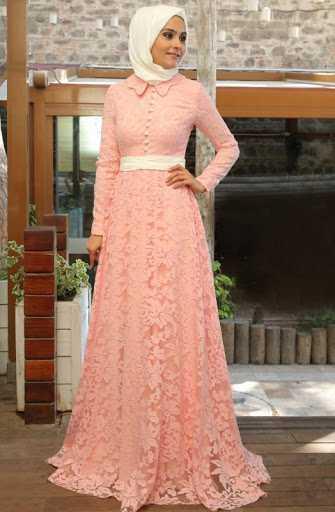 En Güzel Dantelli Tesettür Abiye Elbise Modelleri