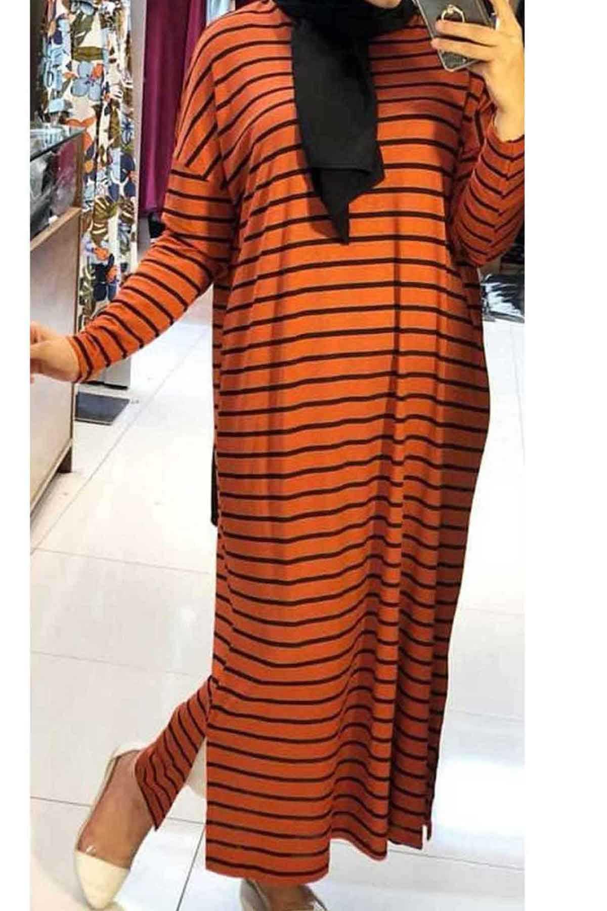 Ermi Tekstil Tesettür Kiremit Desenli Elbise Modası