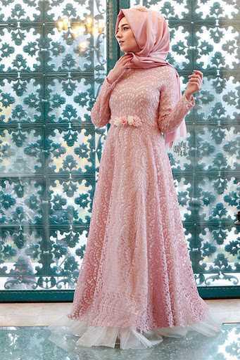 Gamze Özkul Dantelli Tesettür Abiye Elbise Modelleri