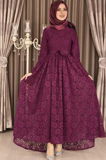 Moda Merve Dantelli Tesettür Abiye Elbise Modelleri