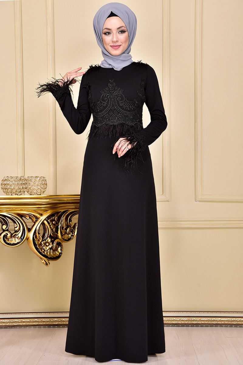 Moda Merve Fransız Dantelli Tesettür Abiye Elbise Modelleri