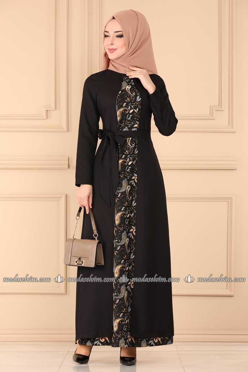 Moda Selvim Desenli Abaya Görünümlü Elbise Modelleri