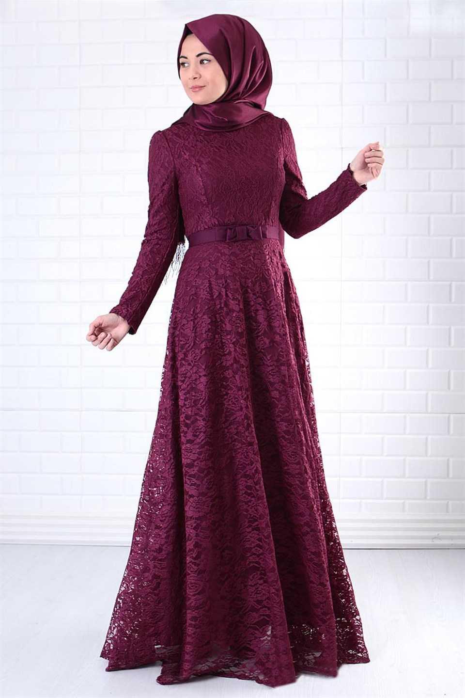 Modavina Dantelli Tesettür Abiye Elbise Modelleri