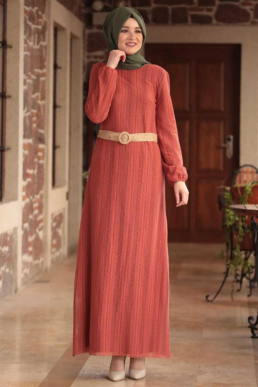 Modavina Tesettür Dantelli Kiremit Elbise Modelleri