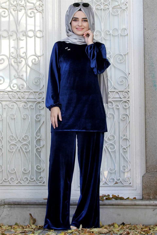 Modavina Tesettür Kadife Takım Modelleri
