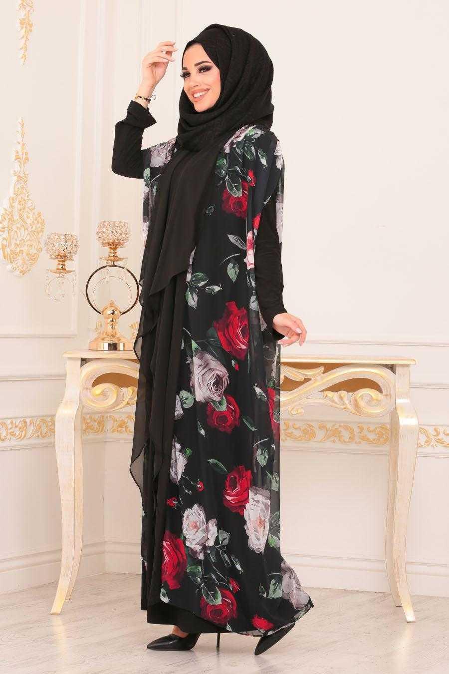 Nayla Collection Çiçek Desenli Tesettür Abaya Modelleri
