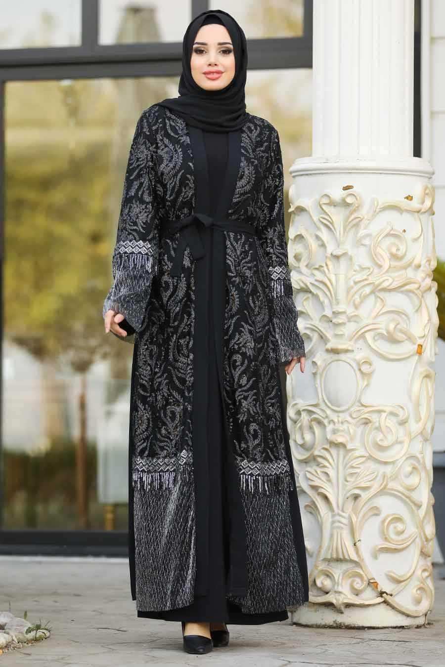 Nayla Collection Desenli Tesettür Abaya Modelleri