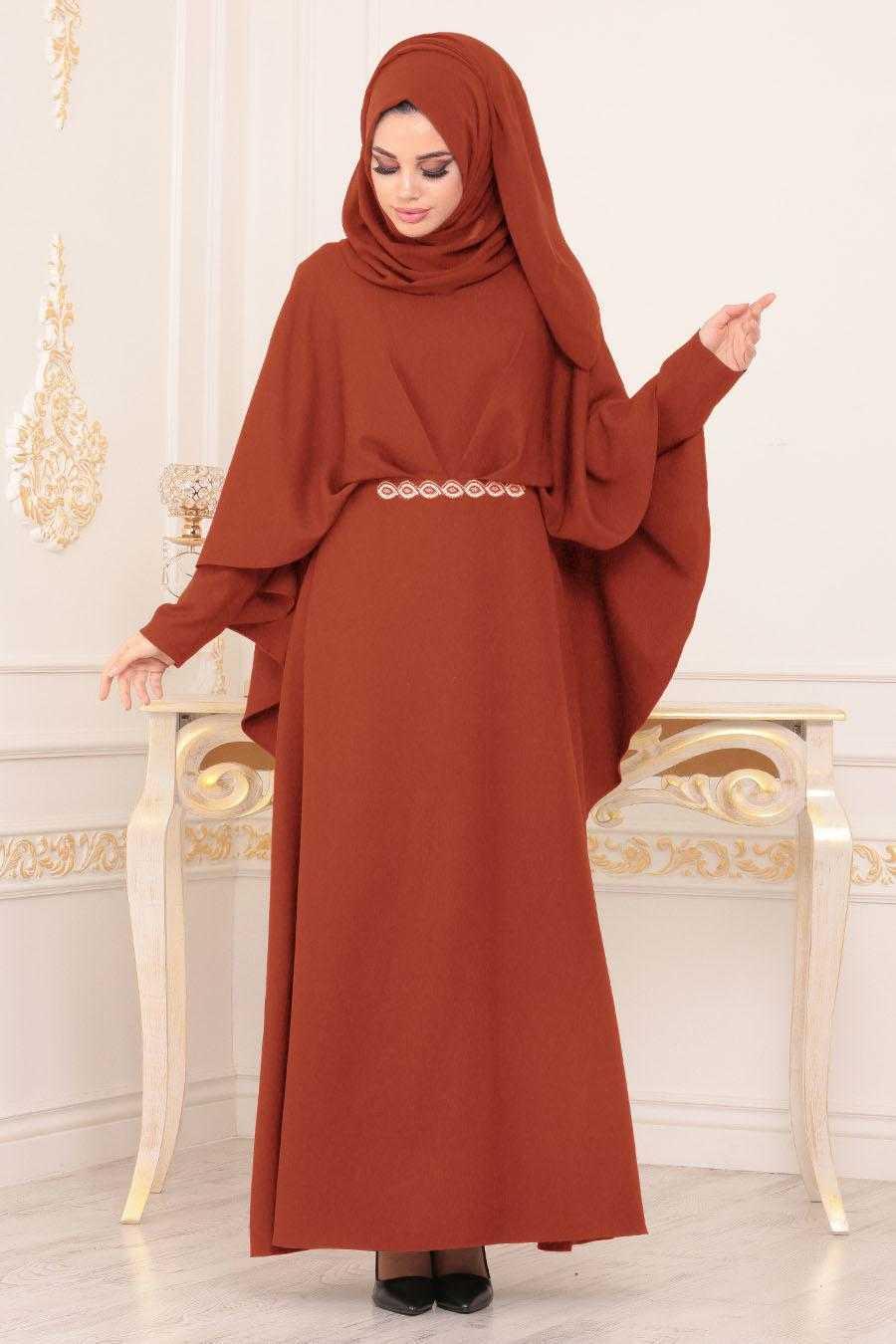 Nayla Collection Tesettür Kiremit Abiye Elbise Modası