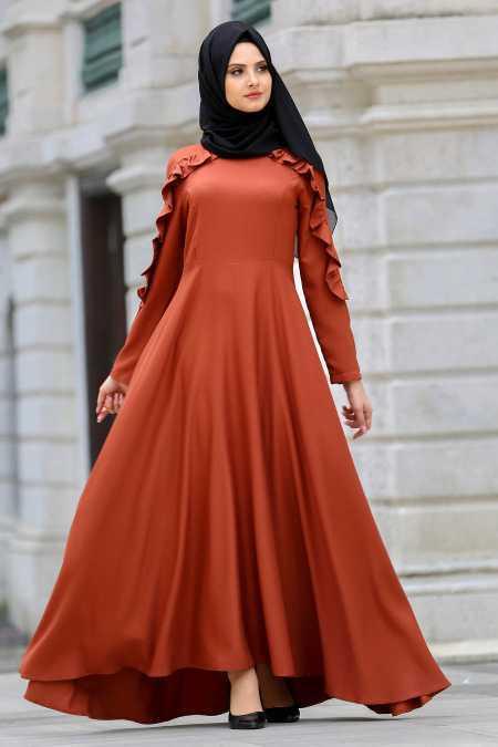 Neva Style Tesettür Kiremit Fırfırlı Elbise Modası