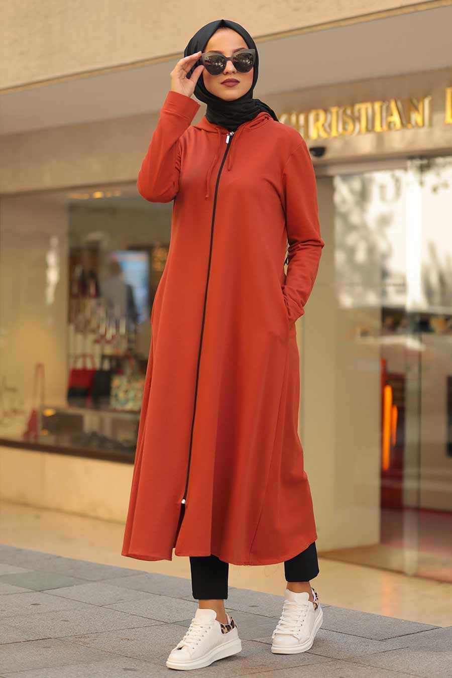 Neva Style Tesettür Kiremit Kapüşonlu Tunik Modası
