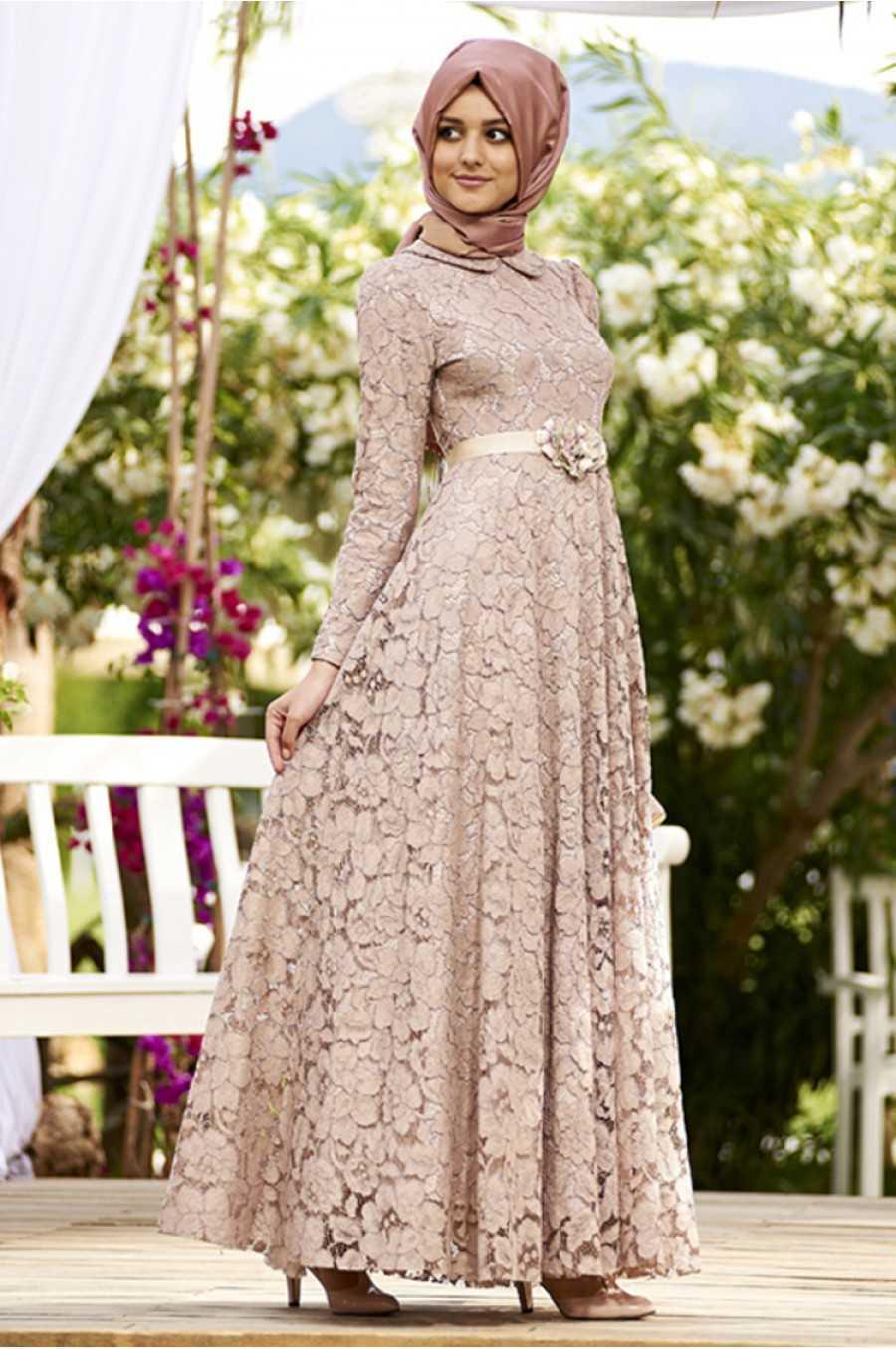 Nilüfer Kamacıoğlu Dantelli Tesettür Abiye Elbise Modelleri