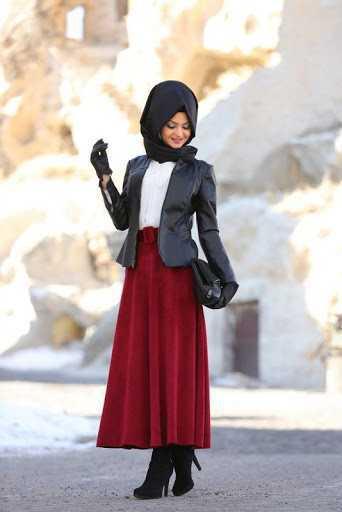 Pınar Şems Tesettür Deri Ceket Etek Kombinleri