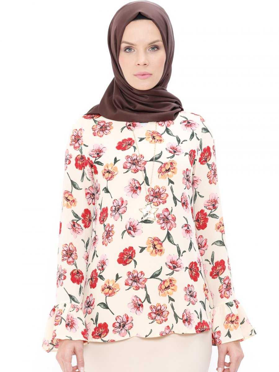 Pnr Woman Çiçek Desenli Tesettür Bluz Modelleri