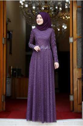 Rana Zen Dantelli Tesettür Abiye Elbise Modelleri