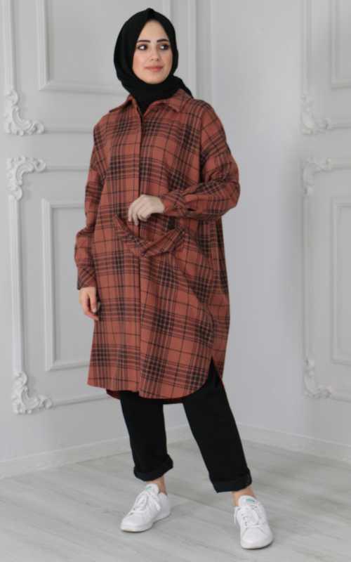 Sahranur Tesettür Kiremit Tunik Gömlek Modası