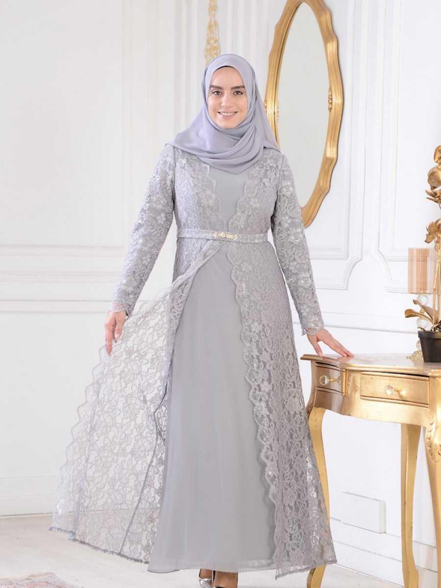 Sefamerve Dantelli Şık Tesettür Abiye Elbise Modelleri