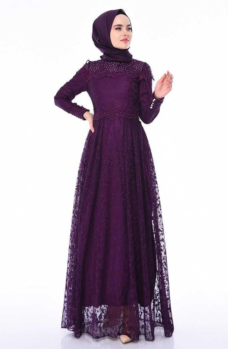 Sefamerve Dantelli Tesettür Abiye Elbise Modelleri