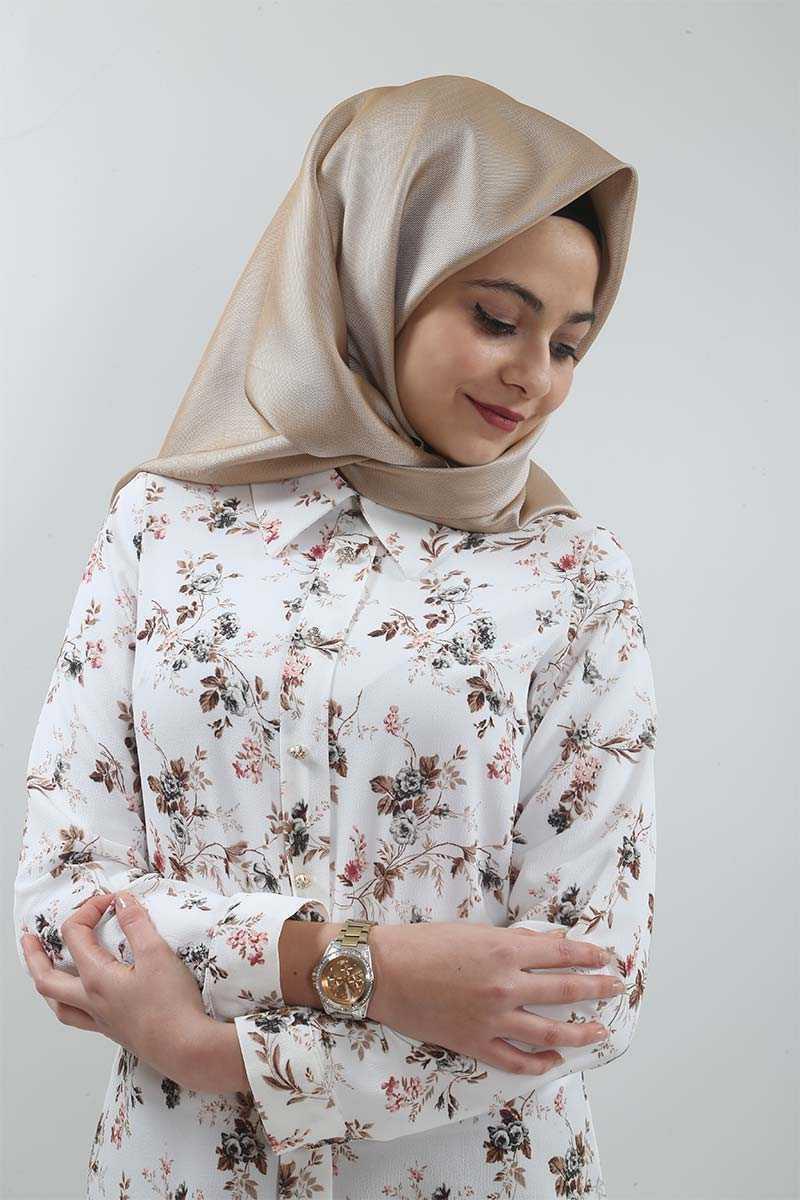 Tesettür Dünyası Çiçek Desenli Şık Bluz Modelleri