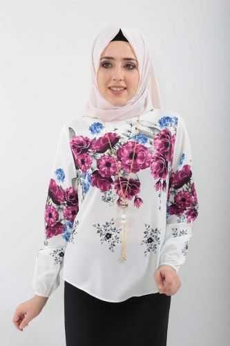 Tesettür Dünyası Çiçek Desenli Bluz Kombinleri