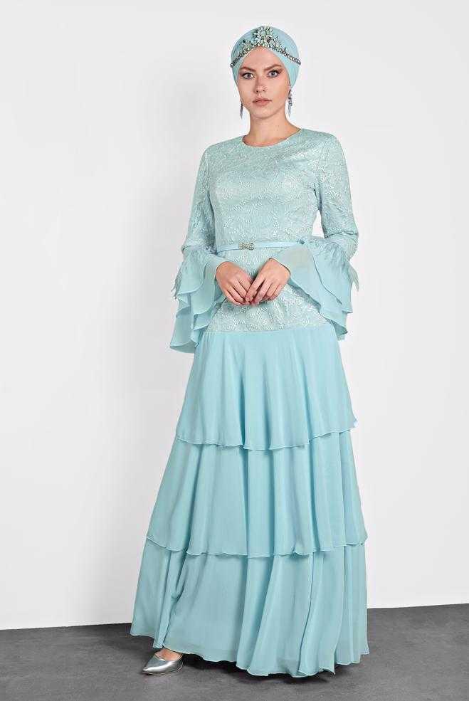 Alvina Fırfırlı Tesettür Abiye Elbise Modelleri