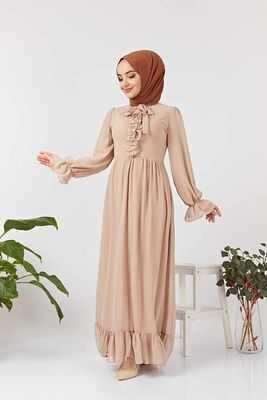 Eliza Moda Fırfırlı Tesettür Abiye Elbise Modelleri