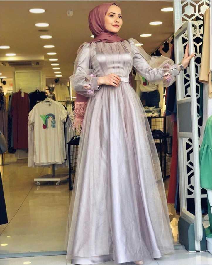 Eliza Moda Tesettür Tül Detaylı Abiye Modelleri
