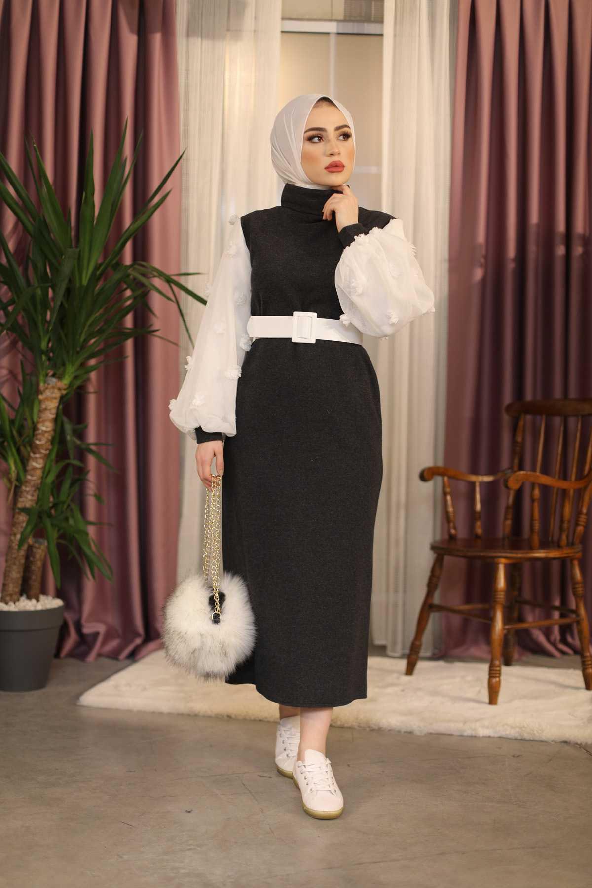 Eliza Moda Tesettür Tül Detaylı Elbise Modelleri