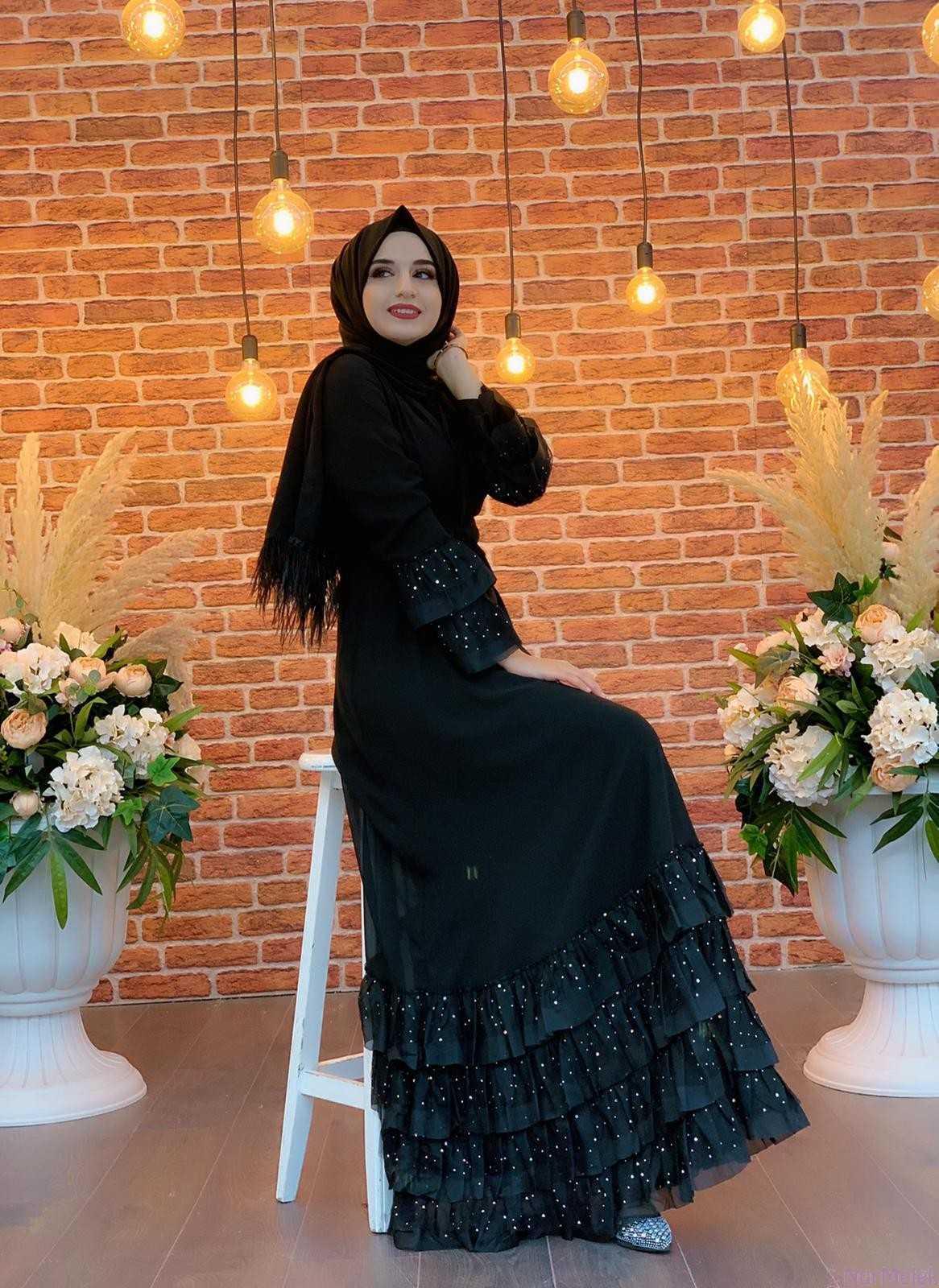 Fırfırlı Tesettür Abiye Elbise Modelleri
