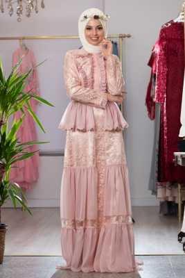 Gönül Kolat Dantel İşlemeli Fırfırlı Tesettür Abiye Elbise Modelleri