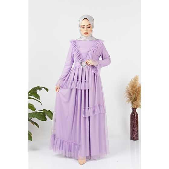 HF Moda Fırfırlı Tesettür Abiye Elbise Modelleri
