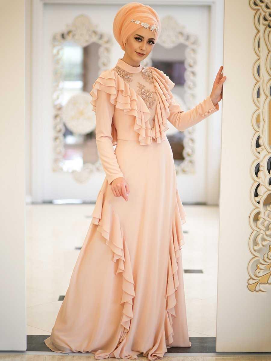 Minel Aşk Fırfırlı Tesettür Abiye Elbise Modelleri