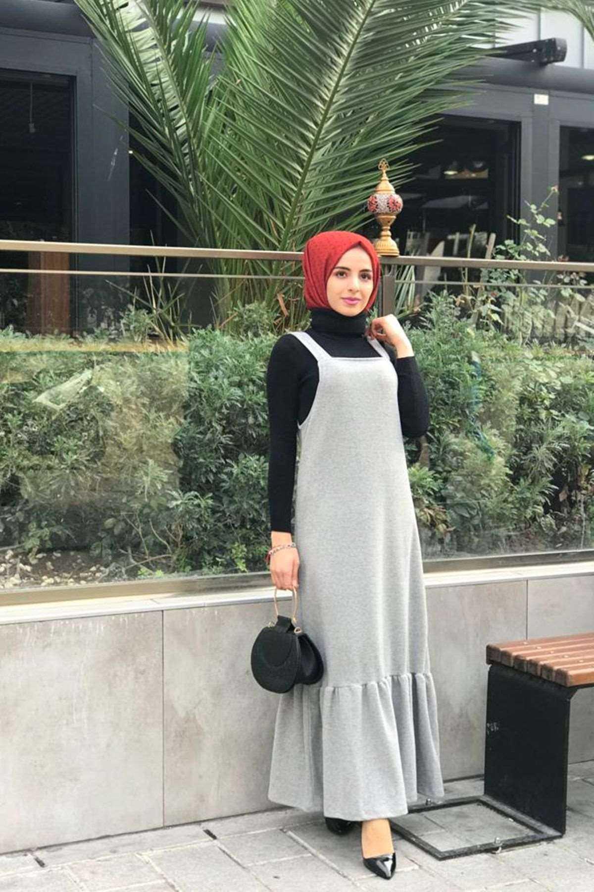 Moda Onur Tesettür Askılı Jile Elbise Modelleri