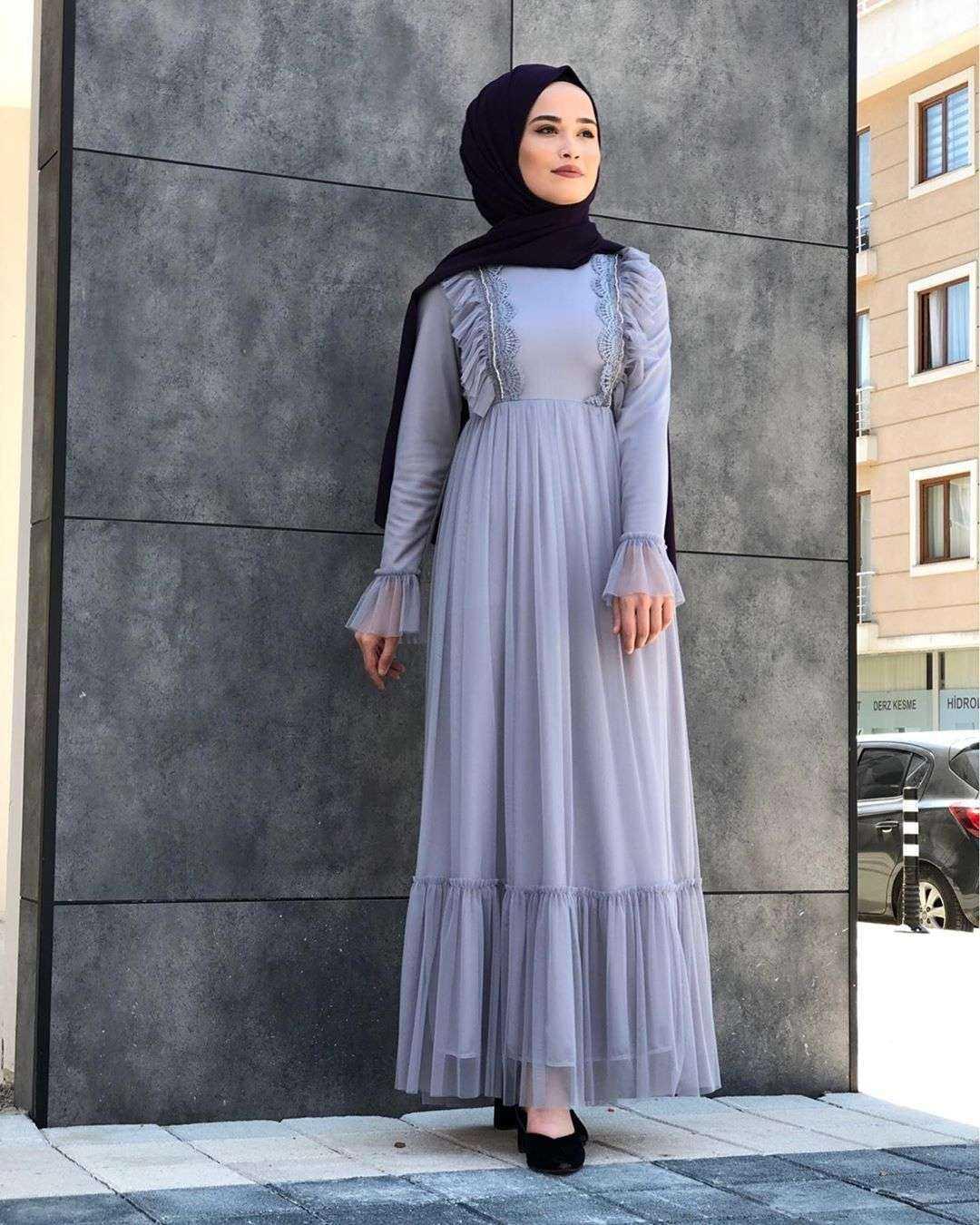 Moda Piyasa Fırfırlı Tesettür Abiye Elbise Modelleri