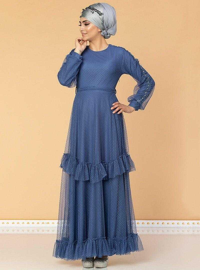 Moda Ravza Fırfırlı Tesettür Abiye Elbise Modelleri