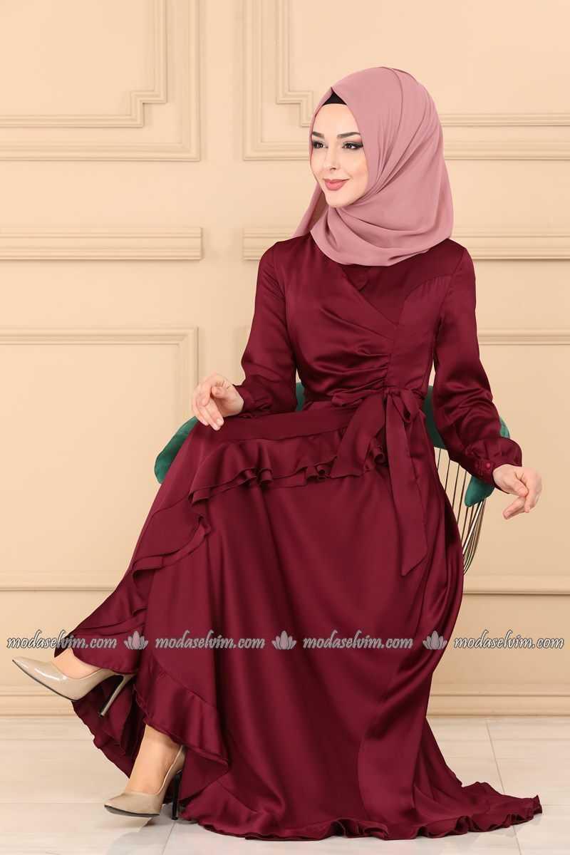 Moda Selvim Fırfırlı Tesettür Abiye Elbise Modelleri