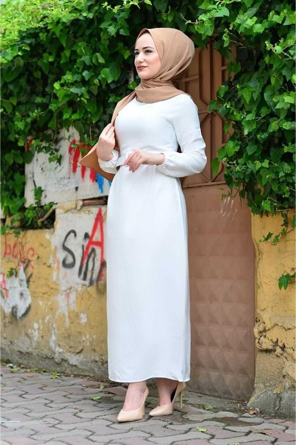ModaOnur Tesettür Ekru Kalem Elbise Modelleri